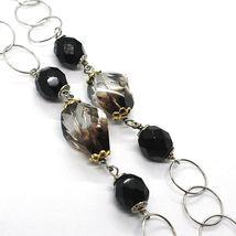 925 Silber Halskette, Ovale Satin Gelb, Nuggets Zweifarbig, Kette Rolo, 60 CM image 3
