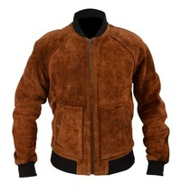 Aloha Premiere Bradley Cooper Brown Bomber Genuine Suede Leather Jacket - $99.03+