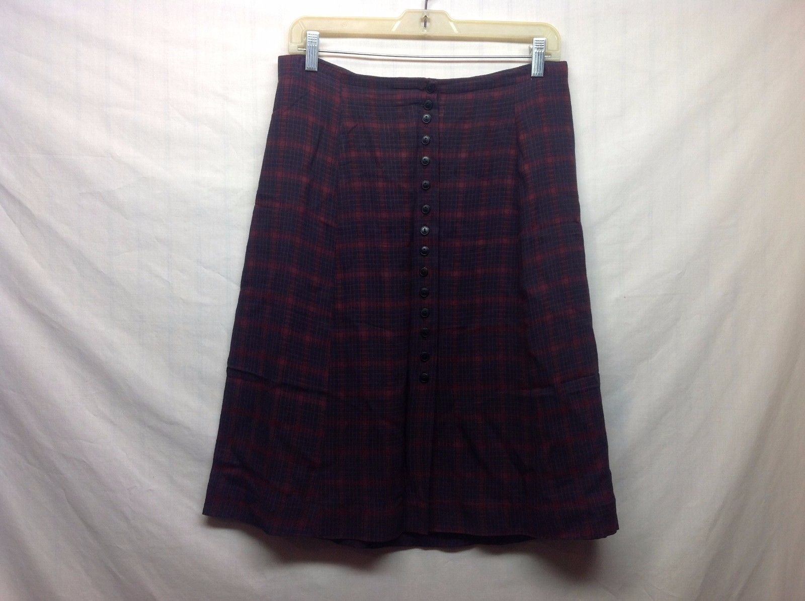 Cristina Maroon and Dark Navy Blue Plaid Front Button Skirt