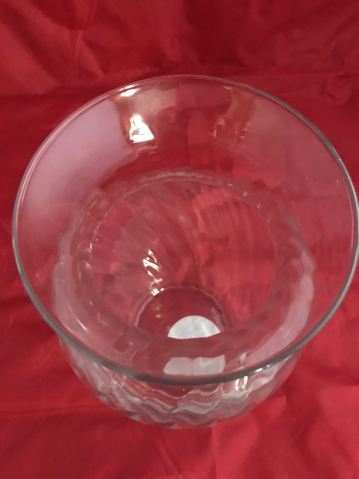 "Indiana Glass Illusions 8"" Clear Swirl Pattern Flower Rose Vase Original Label"
