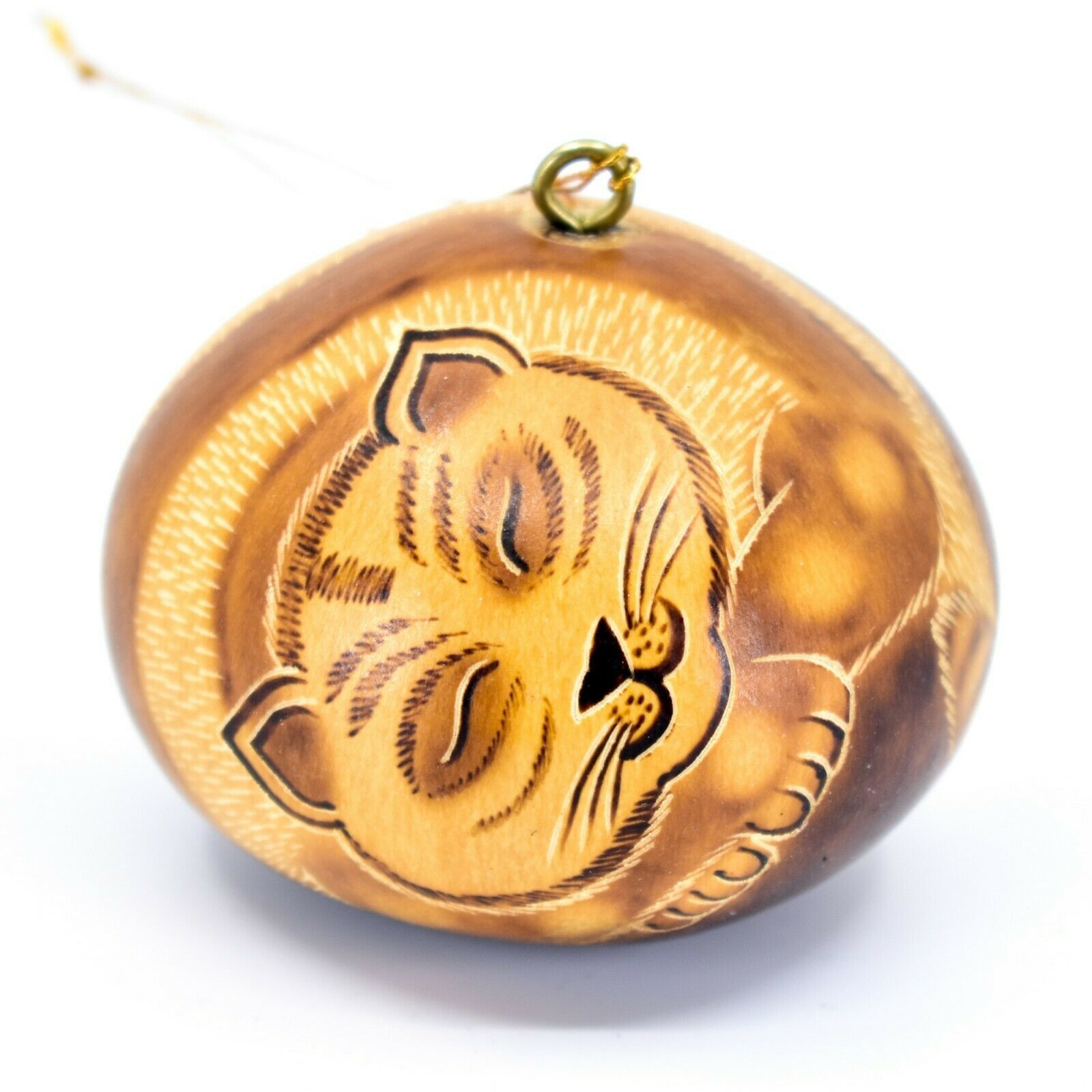 Handcrafted Carved Gourd Art Sleeping Cat Kitten Kitty Ornament Made in Peru