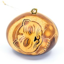 Handcrafted Carved Gourd Art Sleeping Cat Kitten Kitty Ornament Made in ... - $16.82