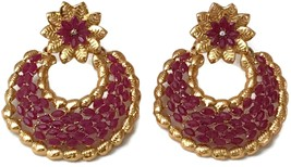 Ea e190 Bollywood Fashion Simulated Ruby Stone Golden Earring Set.Indian... - $24.99