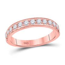 14kt Rose Gold Womens Round Diamond Wedding Band 1/2 Cttw - $711.91