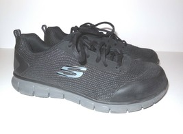 Skechers Women's Work Synergy Wingor Sneakes sz 11 Black Shoes Alloy Toe - $45.00
