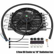 "6 Row Radiator Remote Aluminum Transmission Oil Cooler & 10"" Cooling Fan... - $50.05"