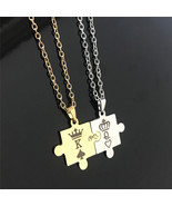 1 pc Silver Gold K&Q Letters Couple Necklaces with Crown Pendant Lover's... - $9.66