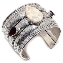 Fossil Coral, Smoky Topaz 925 Sterling Silver Cuff Bracelet ADJ.  - $24.99