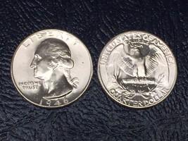 LOT(1 Coin)1946 BLAZING GEM BU WASHINGTON SILVER QUARTER FROM ORIGINAL R... - $19.99
