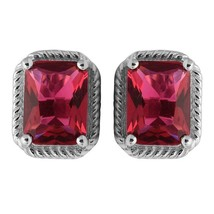 Octagon Cut Red Cz 925 Sterling Silver Tiny Stud Earring - $13.80