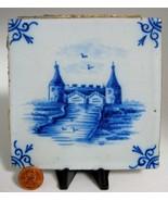 Delft Tile Blue And White 1870s Antique Tile Tin Glazed Delft Style Flow... - $28.00