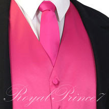 Fuchsia Solid Tuxedo Suit Vest Waistcoat and Necktie Prom Wedding Party ... - $18.79+