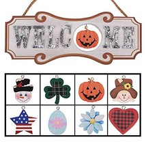 YEASL Interchangeable Seasonal Welcome Sign - Front Door Decor Wall Hang... - $31.06