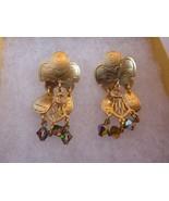Artisan Dangle Post Earrings Gold tone Modernist crystals - $21.56