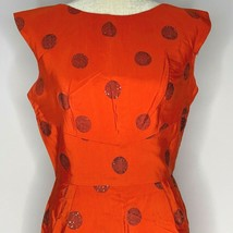 Vintage 40s Sty Val Sleeveless Shift Dress S Red Flocked Dots Sequins Me... - $128.65