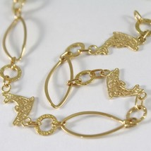 Yellow Gold Bracelet 750 18k with Dolphins Patinated Machined, 18 cm length image 2