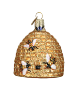 OLD WORLD CHRISTMAS BEE SKEP STRAW HIVE HONEY FLOWERS CHRISTMAS ORNAMENT... - $12.88