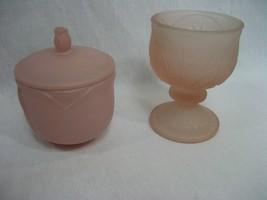 Vintage Set 2 Pink Pedestal Glass Candle Holder & Pink Trinket Jar with ... - $9.85