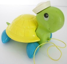 Vintage 1997 Fisher Price Green Yellow And Blue Turtle Pull Toy #644 - $6.00