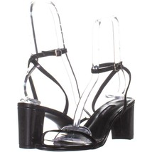 Nine West Provein Ankle Strap Block Heel Sandals 322, Black, 7.5 US - $25.91