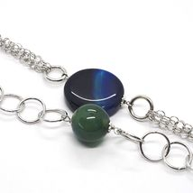 SILVER 925 NECKLACE, AGATE BLUE STRIATA, WITH LOCKET PENDANT, 21 11/16in image 4