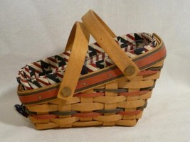 1996 Longaberger Small Vegetable Basket & Protector, Americana Liner, Tie On - $16.99