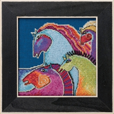 Primary image for Wild Horses 2017 Horses Collection LINEN cross stitch kit Laurel Burch Mill Hill