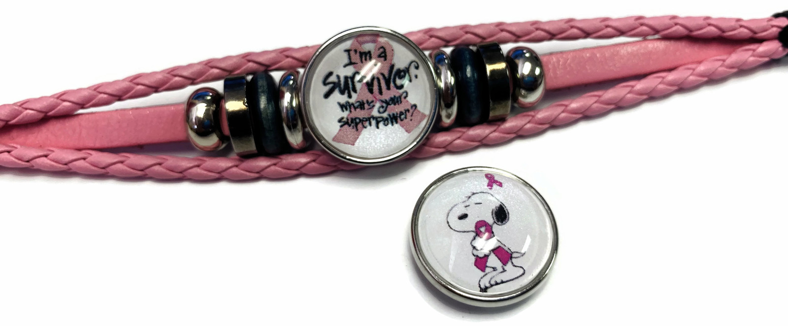 Breast Cancer Snoopy Hugs Survivor Pink Leather Bracelet W/2 Snap Jewelry Charms