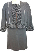 GIANFRANCO FERRE FRINGES COTTON BLEND SKIRT SUIT 44 - $116.67