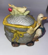 Vintage Porcelain Goose Pulling Carriage Gosling Figurine Rare 1950s - $54.45