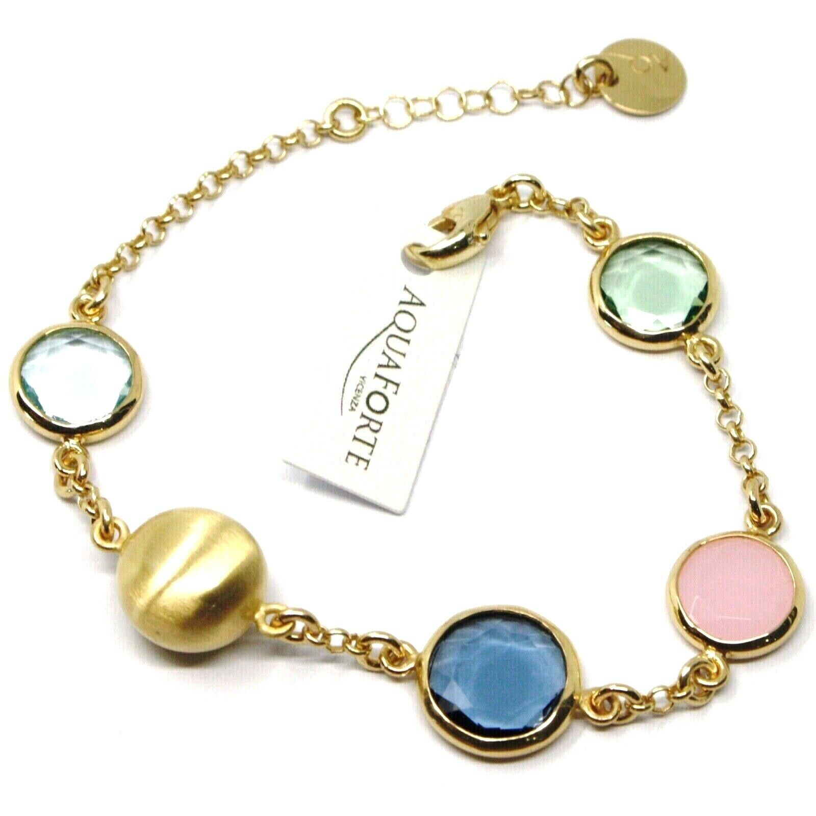 925 STERLING SILVER YELLOW BRACELET, SATIN NUGGET, BLUE GREEN PINK GLASS PASTE