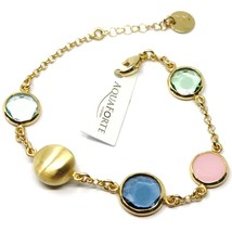925 STERLING SILVER YELLOW BRACELET, SATIN NUGGET, BLUE GREEN PINK GLASS PASTE image 1