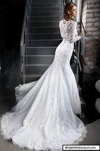 High Neck Mermaid Lace Wedding Dress with Jacket and Long Sleeves at Bling Bride image 2
