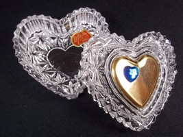 Lefton lead crystal heart trinket box Blue Sapphire Sept gold heart lid 1993 - $12.72