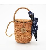 2018 Summer New Cylinder Carrying Straw Bag Wave scarf towel Woven Lei... - $30.03