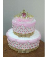 Pink and Gold Elegant Princess Themed Baby Girl Shower 2 Tier Beaded Diaper Cake - $50.00