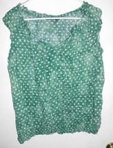 A.N.A. A NEW APPROACH Shirt Top Sz XL Women's Green White Polka Dot  - $13.85