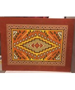 Large Framed Native American Navajo Needlepoint Ready for Hanging Faux S... - $435.59