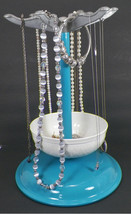 UPCYCLED TEAL AND WHITE JEWELRY STAND -K3 - $14.99