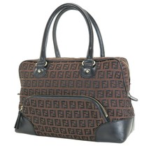 Authentic FENDI Brown Zucca Canvas and Leather Tote Hand Bag Purse #35447 - $395.00