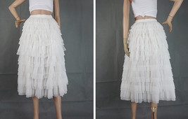 WHITE Layered Tulle Midi Skirt High Waisted Tulle Ruffle Skirt Wedding Outfit  image 3