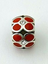 Brighton Ring Of Flowers Bead, J9311D, Silver Finish, Red Enamel, New - $12.35