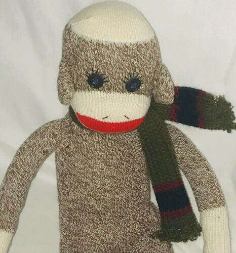 "Sock Monkey 20"" Plush Doll Brown Scarf image 2"