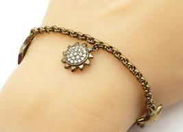 925 Sterling Silver - Vintage Topaz Star Sun & Moon Charm Chain Bracelet... - $45.14