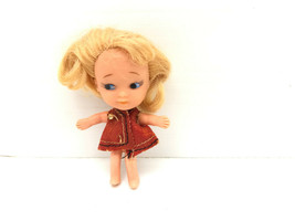 Vtg Tiny Doll Uneeda PeeWee Liddle Kiddle Clone Blonde Red Dress 1960s - $9.74