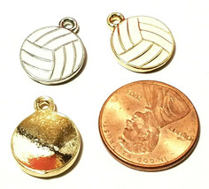 Epoxy Enameled Volleyball FINE PEWTER PENDANT CHARM - 13mm L x 16mm W x 2mm D image 2