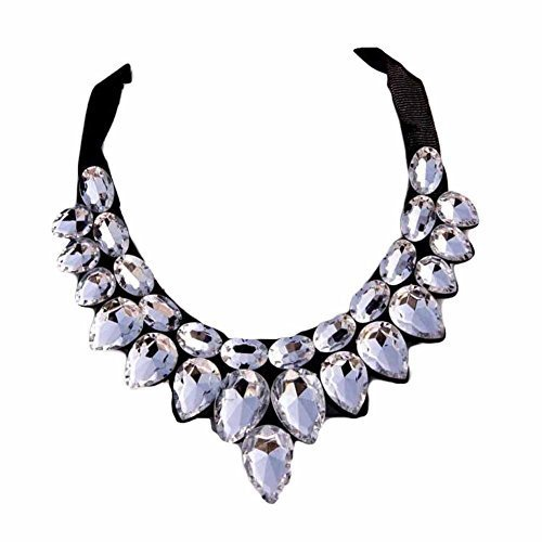 [White Drops] Women Acrylic Choker Necklace False Collar Removable Fake Collar image 1