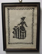 VINTAGE  CROSS STITCHED FRAMED COLONIAL LADY SILHOUETTE - $12.95