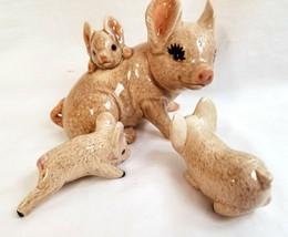 Ceramic Mom Pig Hog Sow & Baby Piglets Figurine Statue Figure Handpainted - $29.95