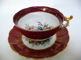 Castle China Japan Aristrocrat Roses Vintage Footed Teacup Saucer - $36.95